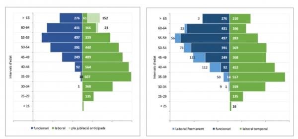 Piràmides d'edat 2015 del PDI. Font: Gabinet Tècnic del Rectorat, Estadístiques memòria curs 2014-2015